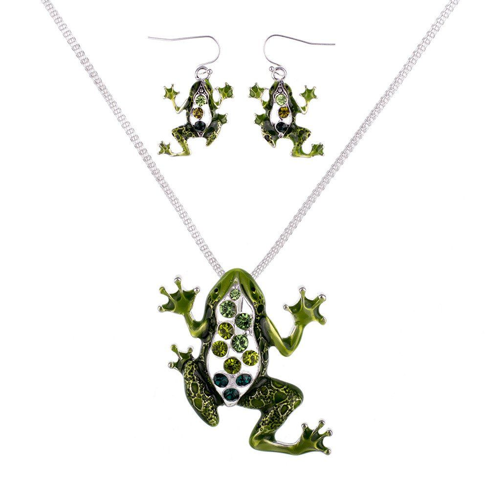 Green frog necklace and earrings set gift ideas pinterest