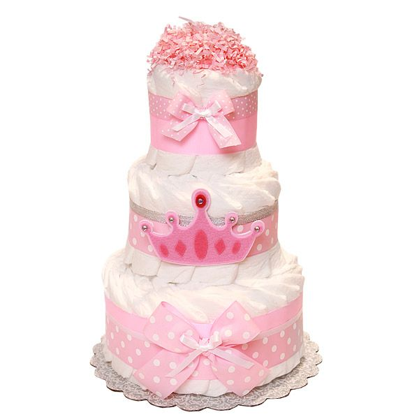 Princess crown decoration diaper cake baby for Baby diaper cake decoration