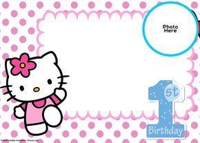 FREE Hello Kitty 1st Birthday Invitation Template Birthday