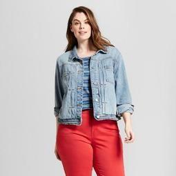 3f3797dacb Women s Plus Size Pleat Front Denim Jacket - Universal Thread™ Light Wash