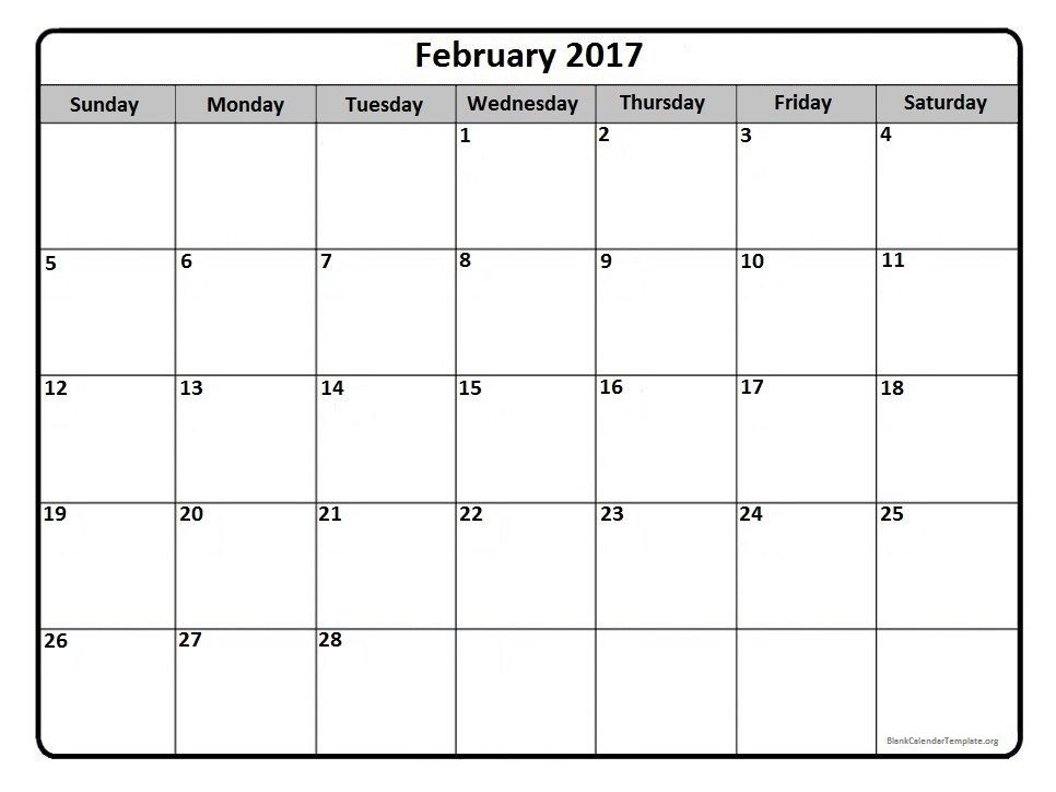 February 2017 Monthly Calendar Printable | 2017 Printable