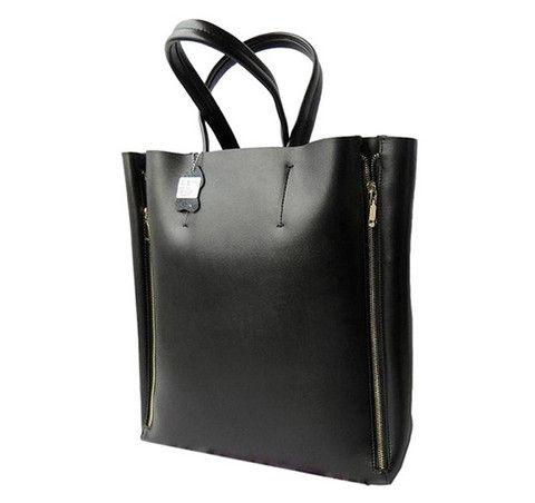Bolso negro con cremalleras laterales