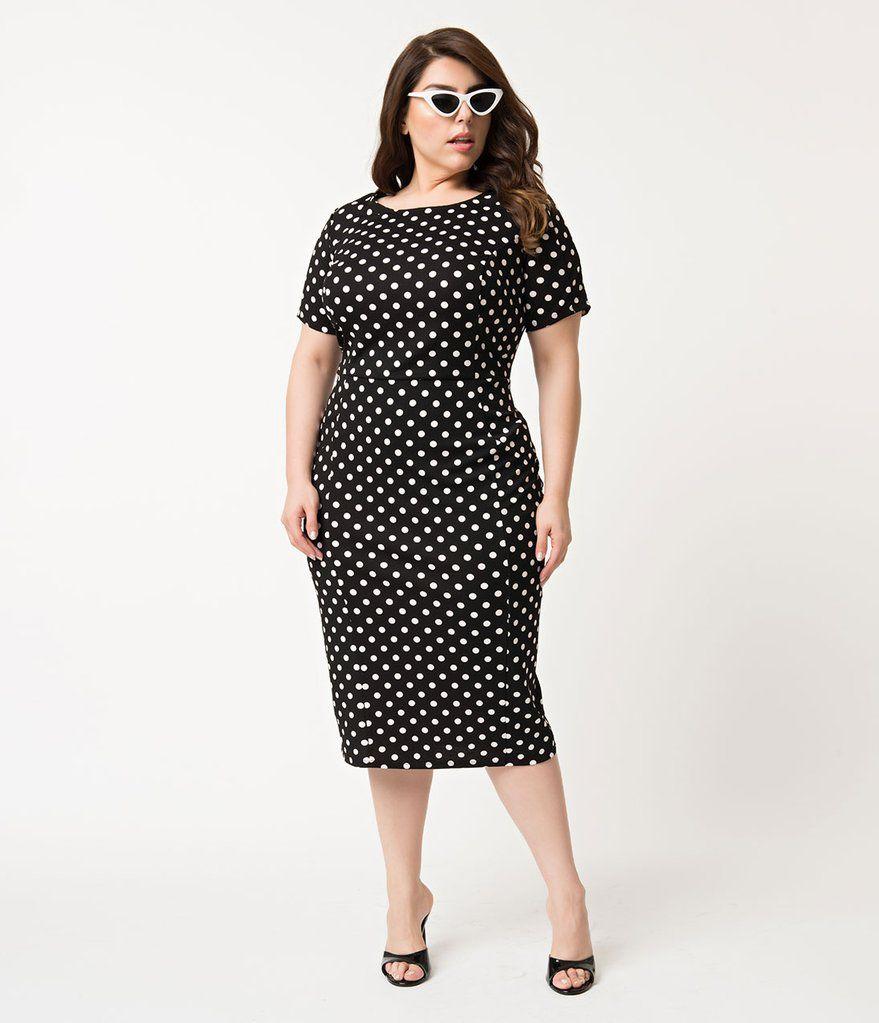 76f8abdd8f Unique Vintage Plus Size 1960s Black   White Dotted Short Sleeve Stretch Mod  Wiggle Dress
