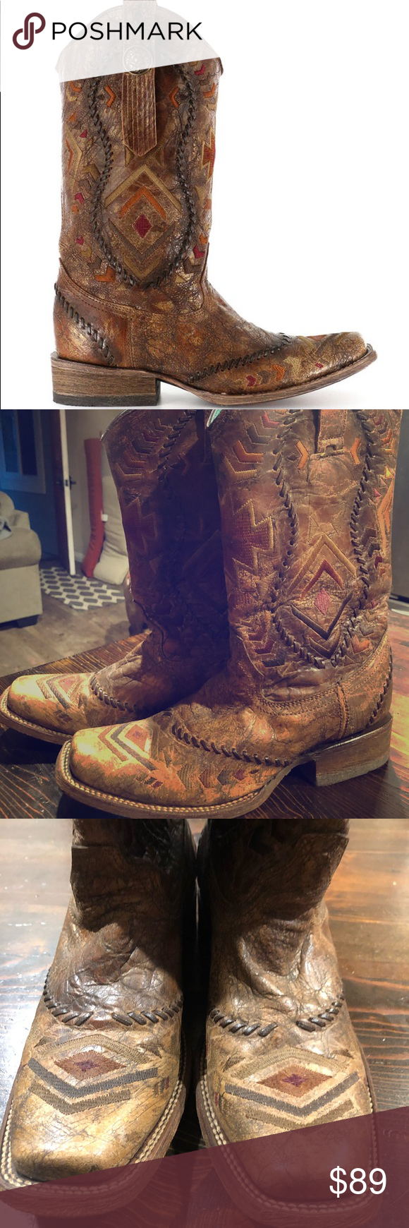 03dd00108bf Corral Women's Aztec Square Toe Western Boots 7.5 Corral Women's ...