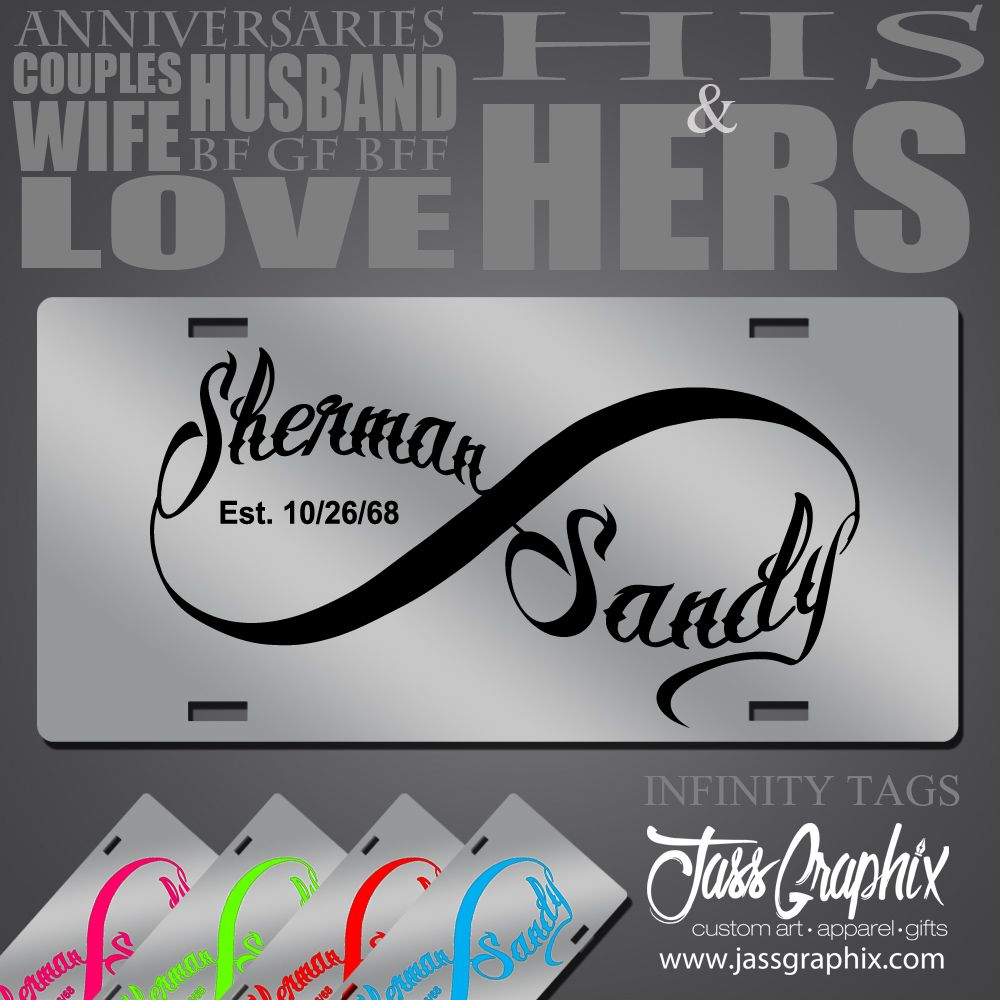 Infinity symbol license plate custom car tag for couples license infinity symbol license plate personalized couples car tags buycottarizona Image collections