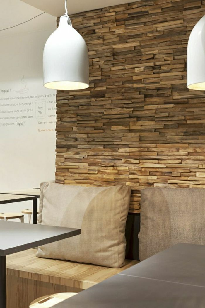 Esszimmer Mit Einer Coolen Wandgestaltung Holzwand Wandverkleidung Holz Innen Holzpaneele