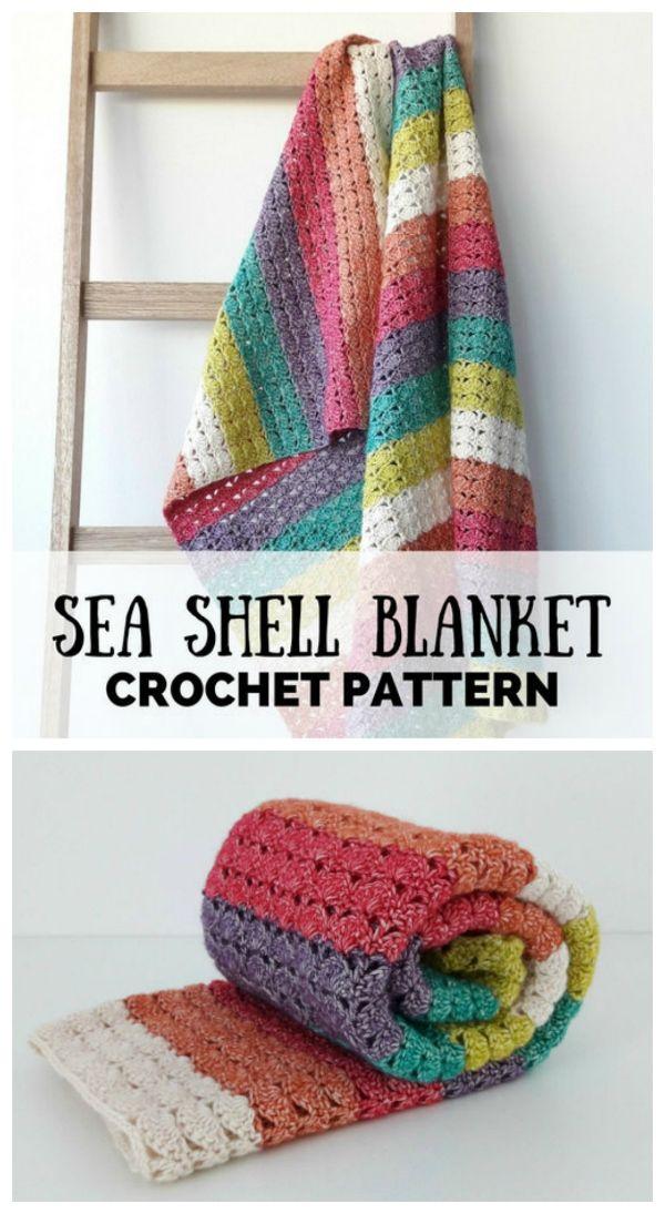 Instant digital download. Sea shell crochet blanket.   Crochet ...