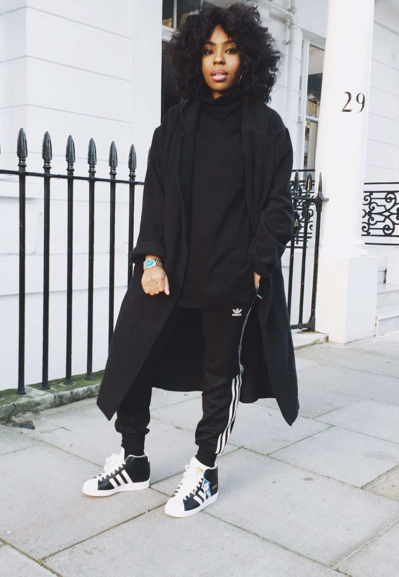 Adidas Outfit Afro Hair Winter Ouitfit Street Style Black Girl