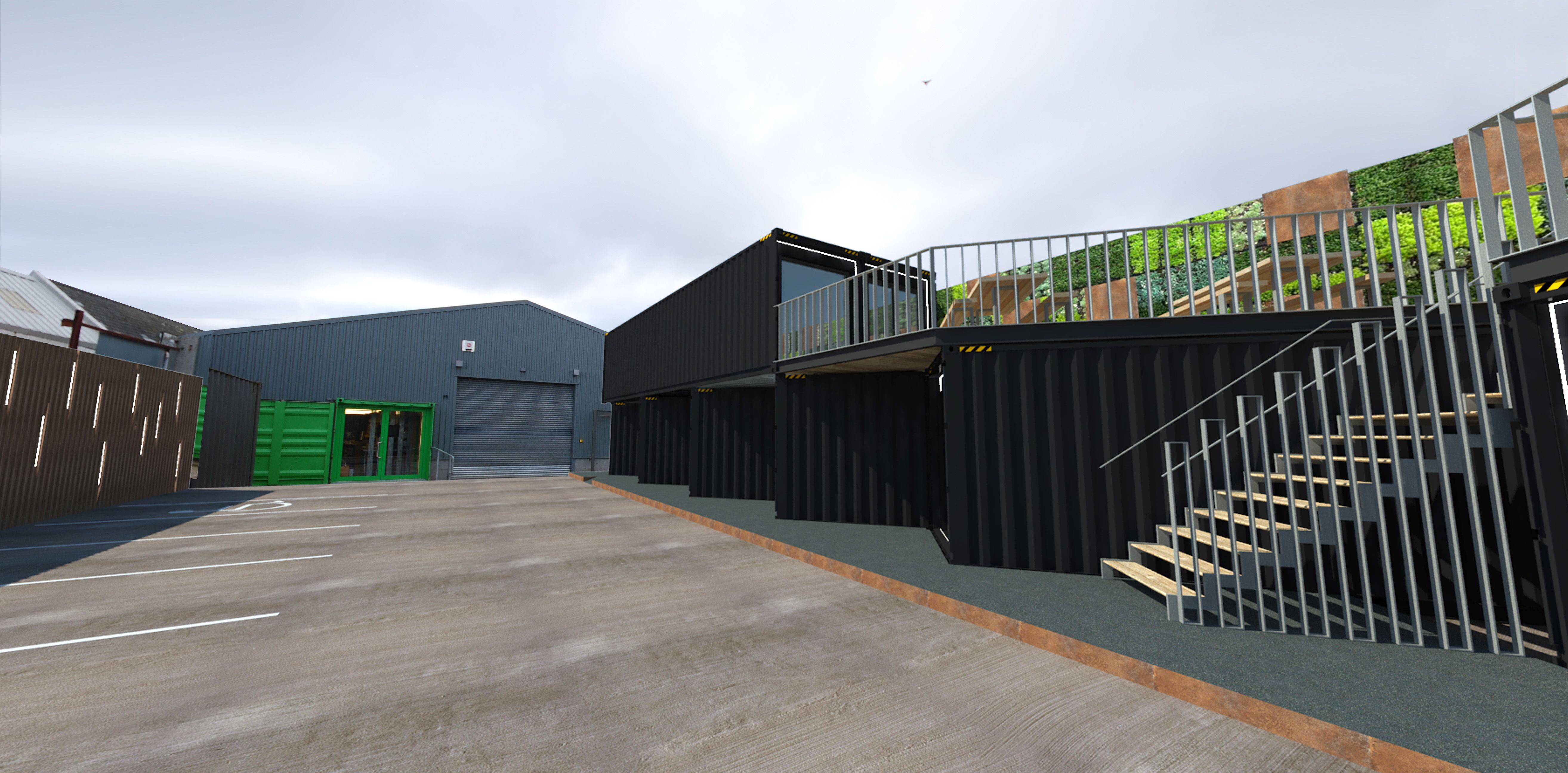 A rendering of the exterior of Bebox our new container based office ...