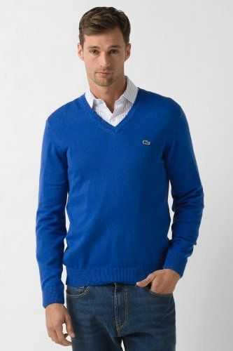 7465607bbb10 Lacoste Cotton Jersey V-Neck Sweater   Sweaters