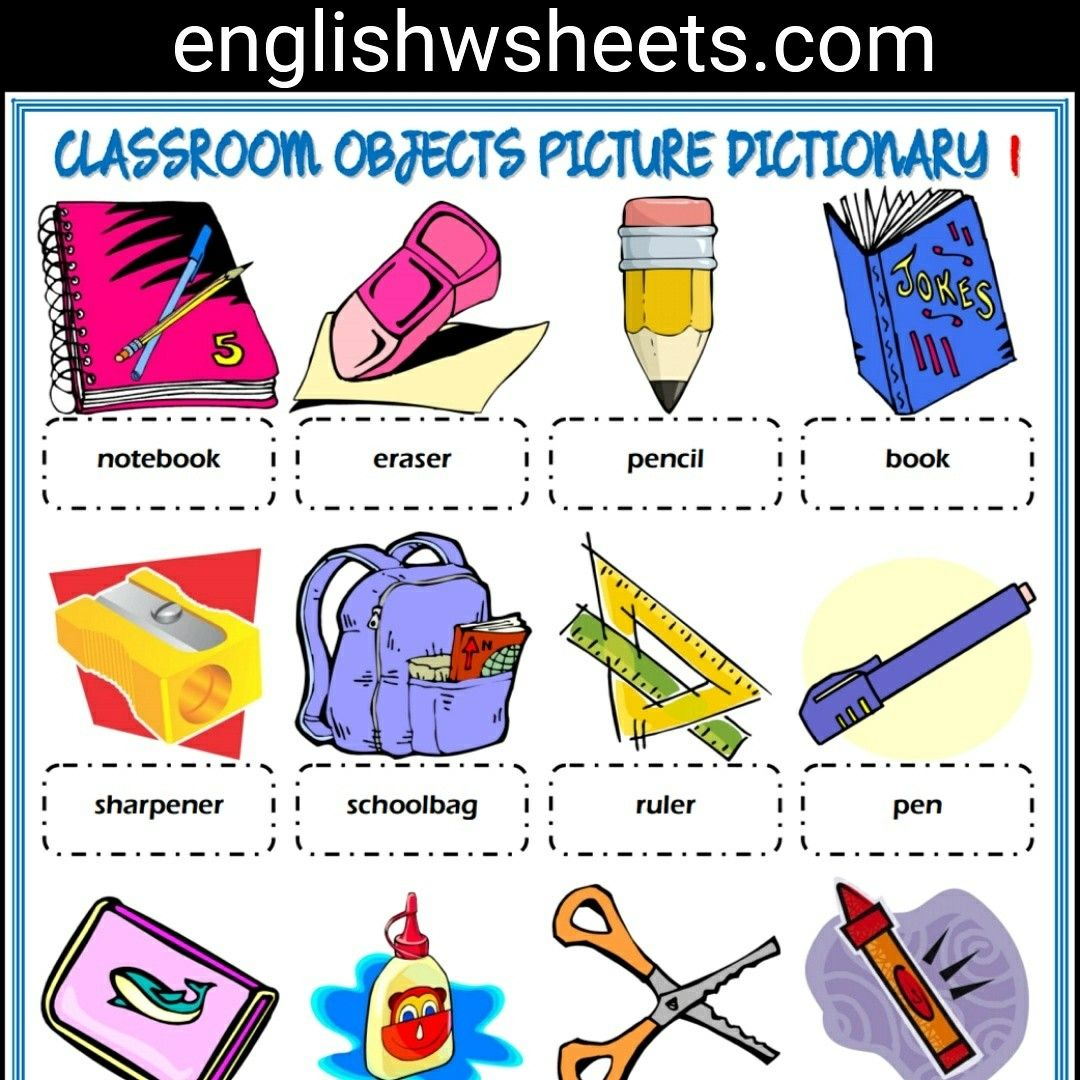 Classroom Objects Esl Printable Picture Dictionary For