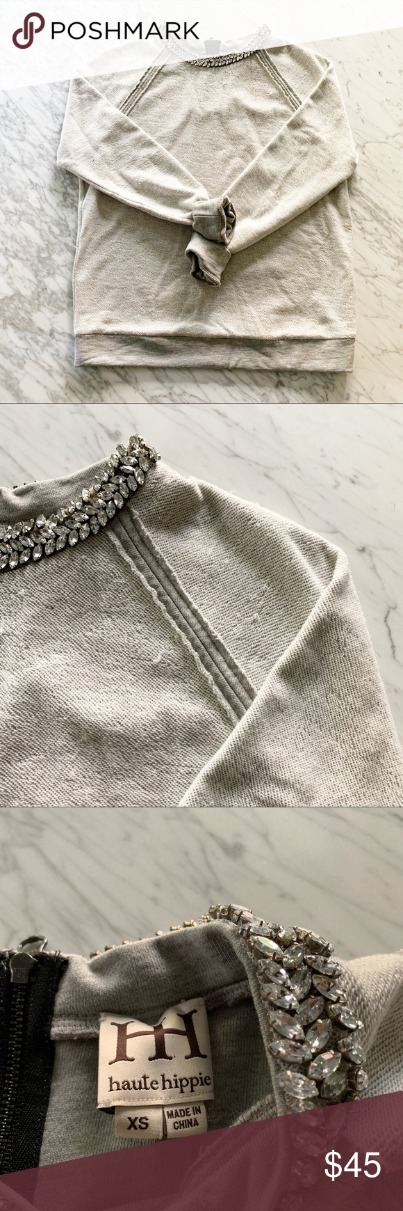 18837ee56acc3b Haute Hippie Jeweled Collar Sweatshirt