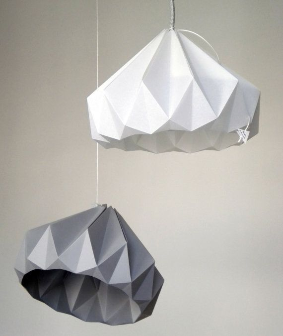 Chestnut paper origami lampshade grey | Origami lampshade ...