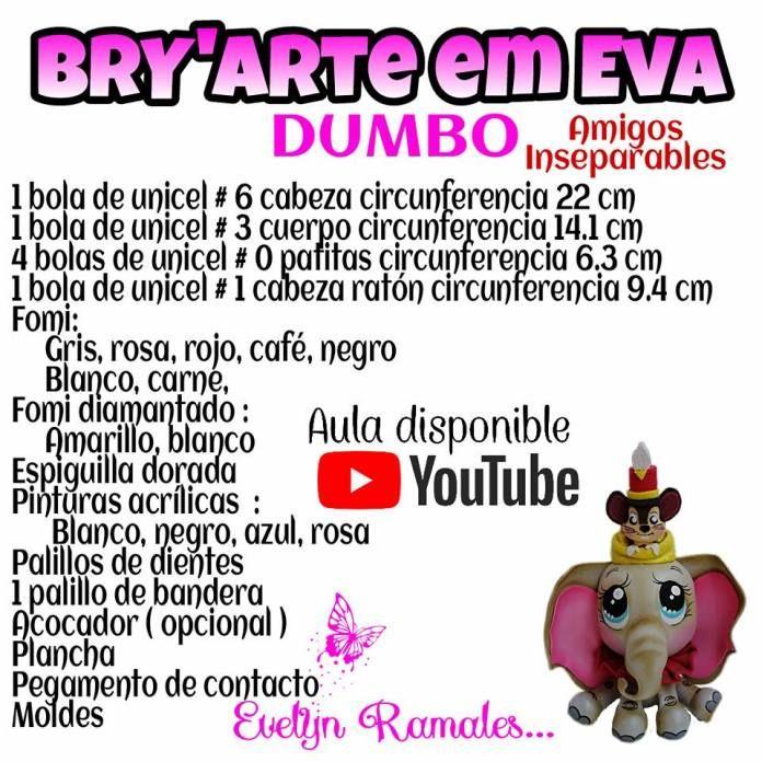 Como hacer a Dumbo en Goma Eva - Patrones gratis 1ded5c1c442