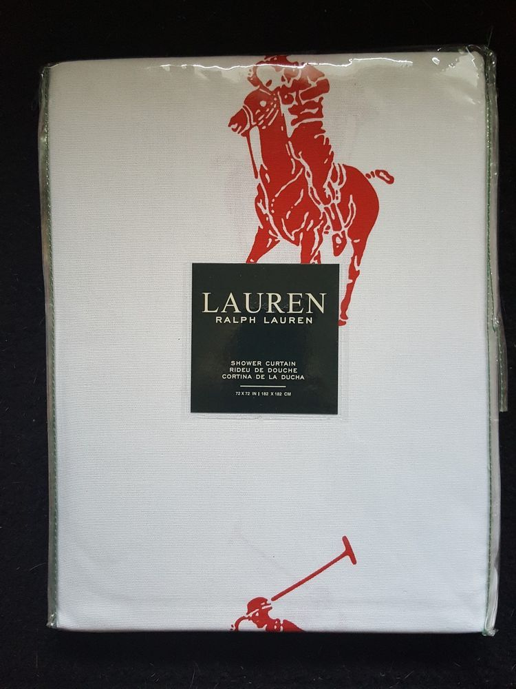 Ralph Lauren Shower Curtain Big Red Polo Pony Cotton Curtains