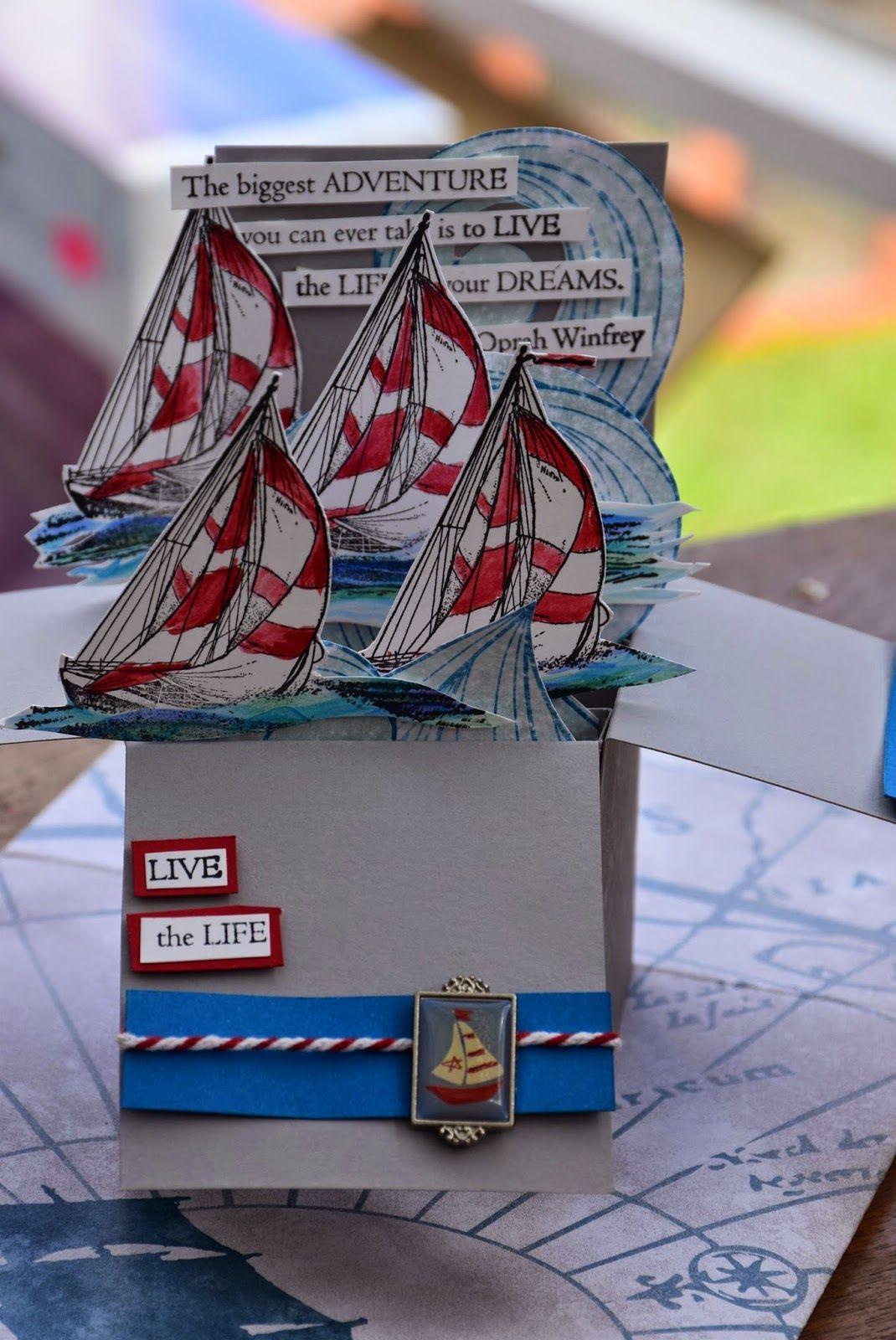 Sailing Away Pop Up Box Cards Boy Cards Box Cards Tutorial
