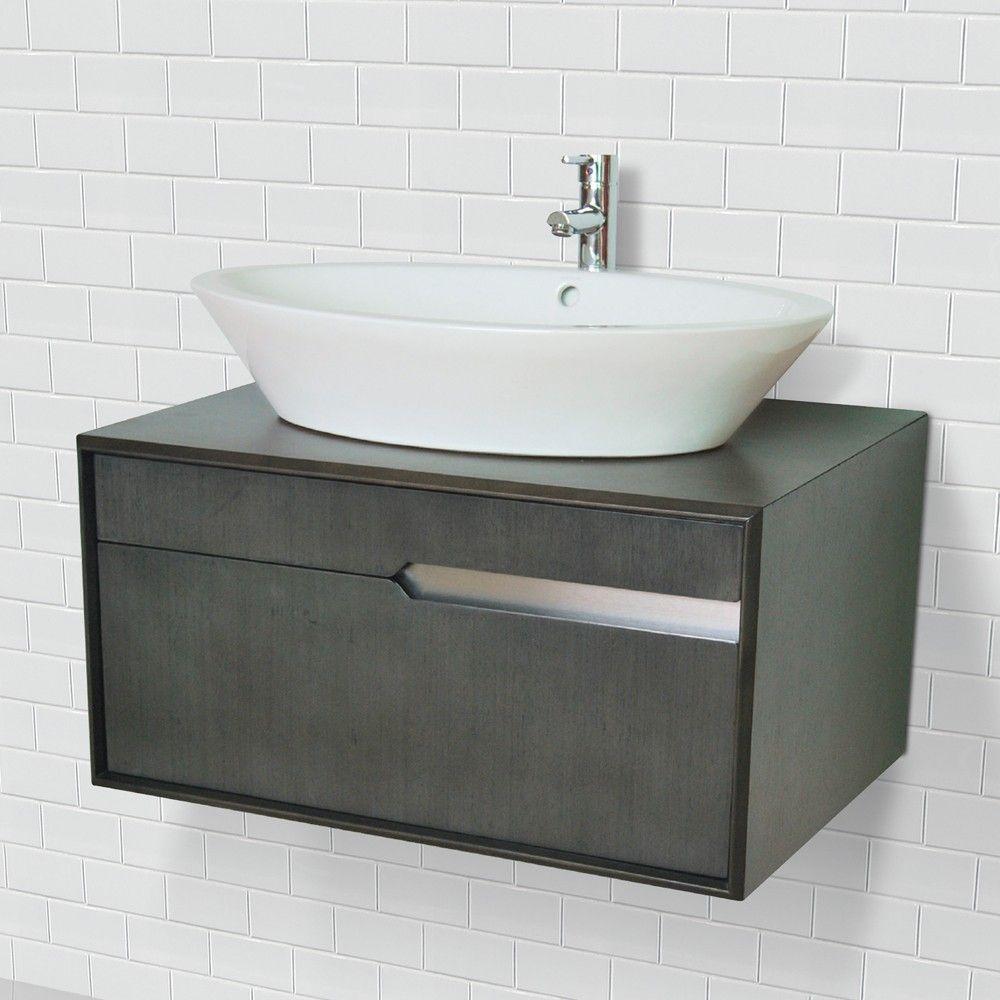 Art Deco 30 Inch Modern Wall Mount Vessel Bathroom Vanity