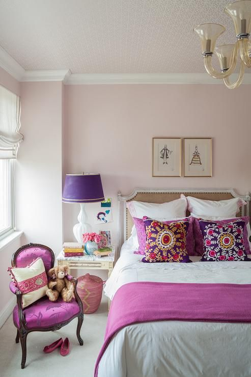 pink and purple girls room with french burlap nailhead bed