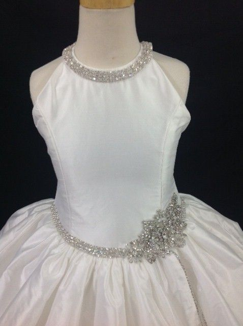 Diamond White Silk Lace First Communion Dress - Christie Helene ...