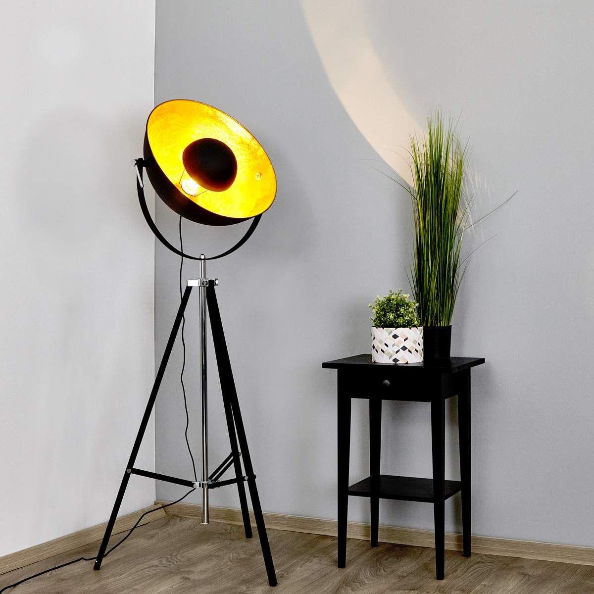 Stehlampe Mineva In Schwarz Und Gold Bodenlampe Stehlampe Und