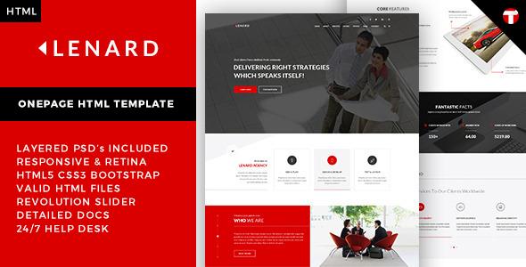 Lenard onepage business responsive site template lenard has lenard onepage business responsive site template lenard has features such as high resolution flashek Images