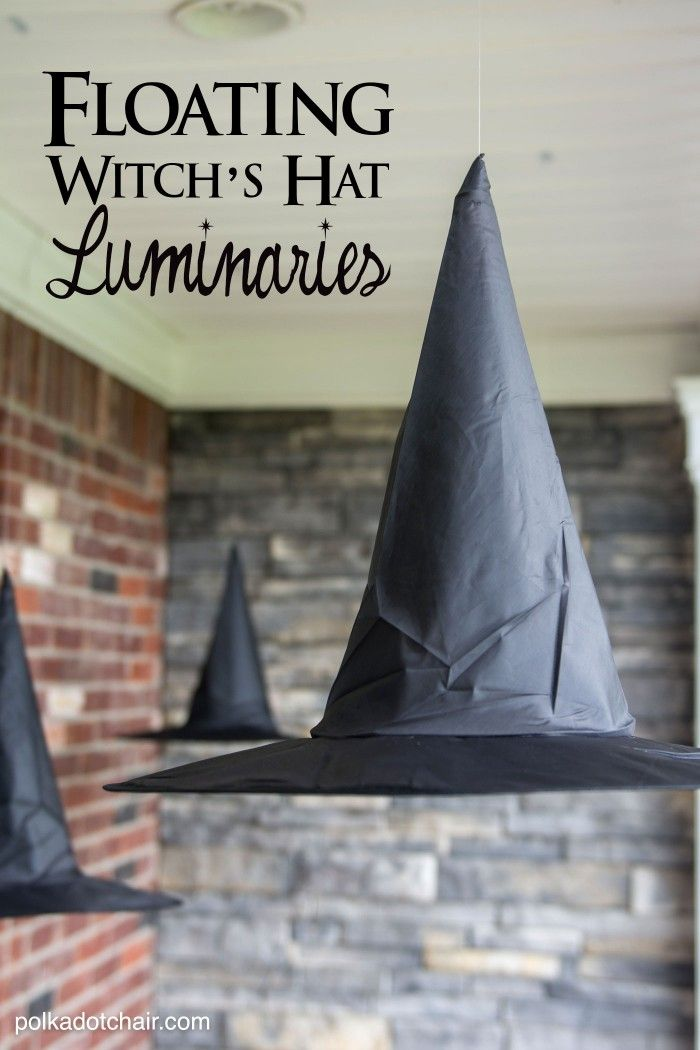 Diy Floating Witch Hat Luminaries Polka Dot Chair Halloween Hats Halloween Witch Decorations Halloween Outdoor Decorations