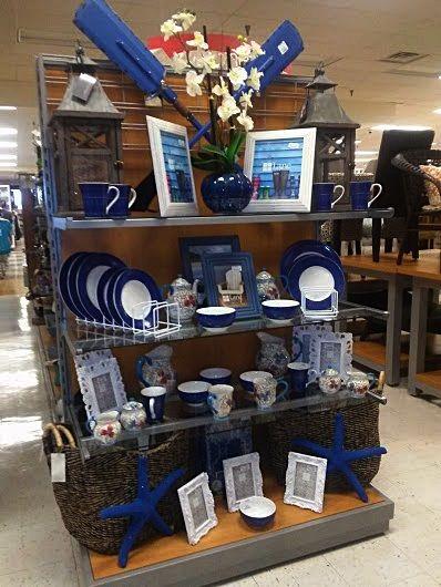 Merchandising display  home decor  giftware  Seashore  navy  white  dark  woods. Merchandising display  TJ Maxx endcap  Topeka   Store display
