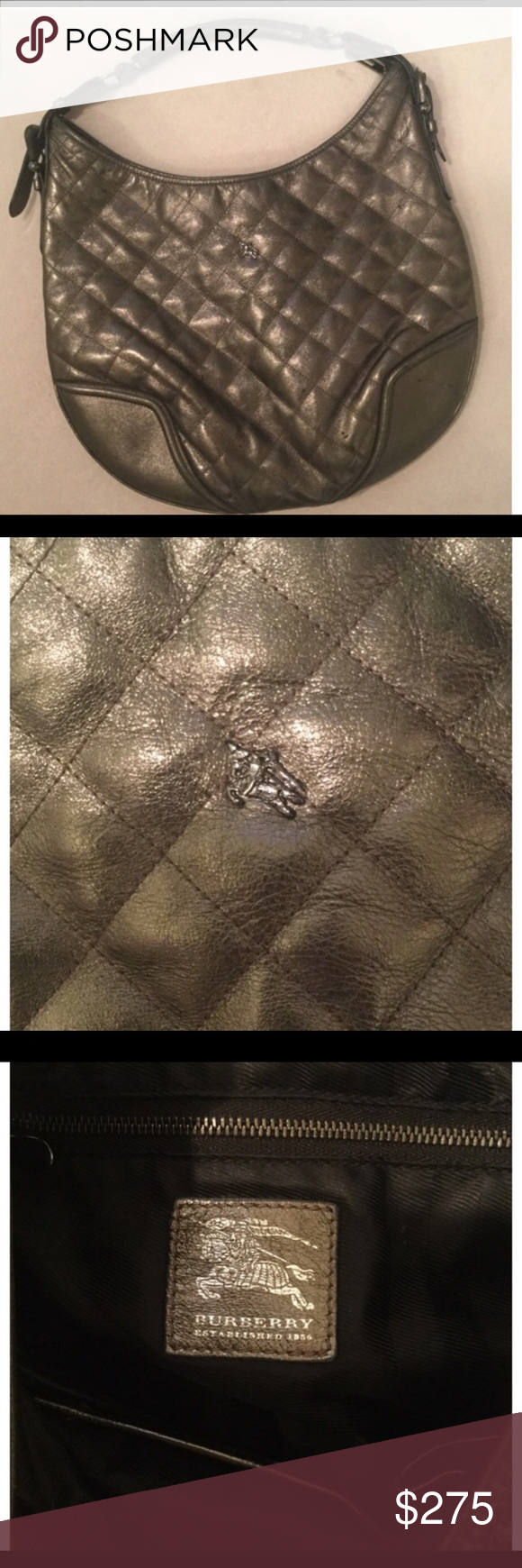 Burberry Hoxton quilted leather hobo metallic bag  e53241e1dce2d