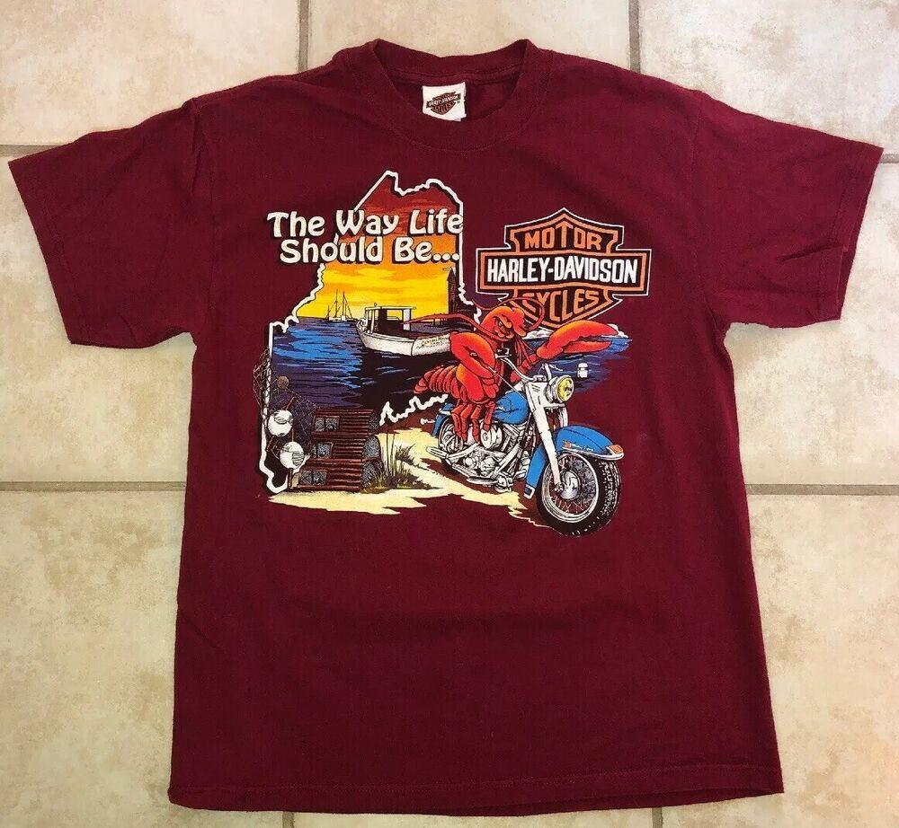 Details About Central Maine Bangor Me Harley Davidson Biker Motorcycle T Shirt Size M Lobster Motorcycle Tshirts Harley Davidson Shirts