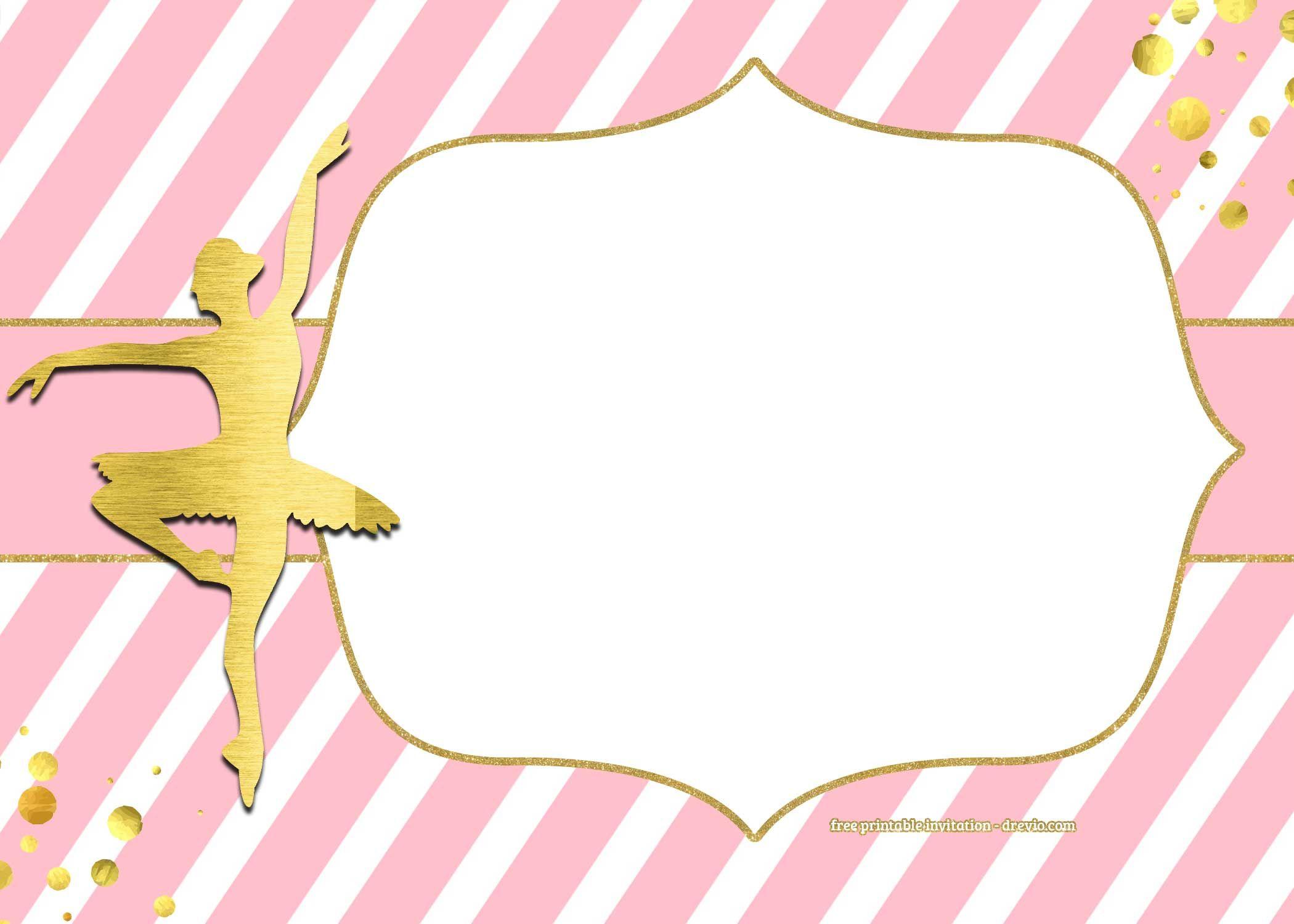 Download FREE Golden Ballerina Birthday Invitation Templates