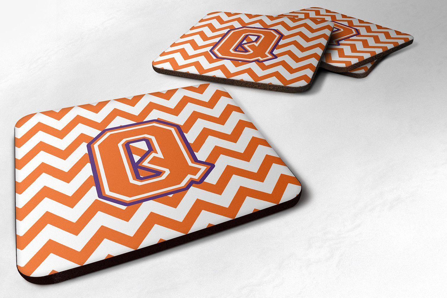 Letter Q Chevron Orange and Regalia Foam Coaster Set of 4 CJ1062-QFC