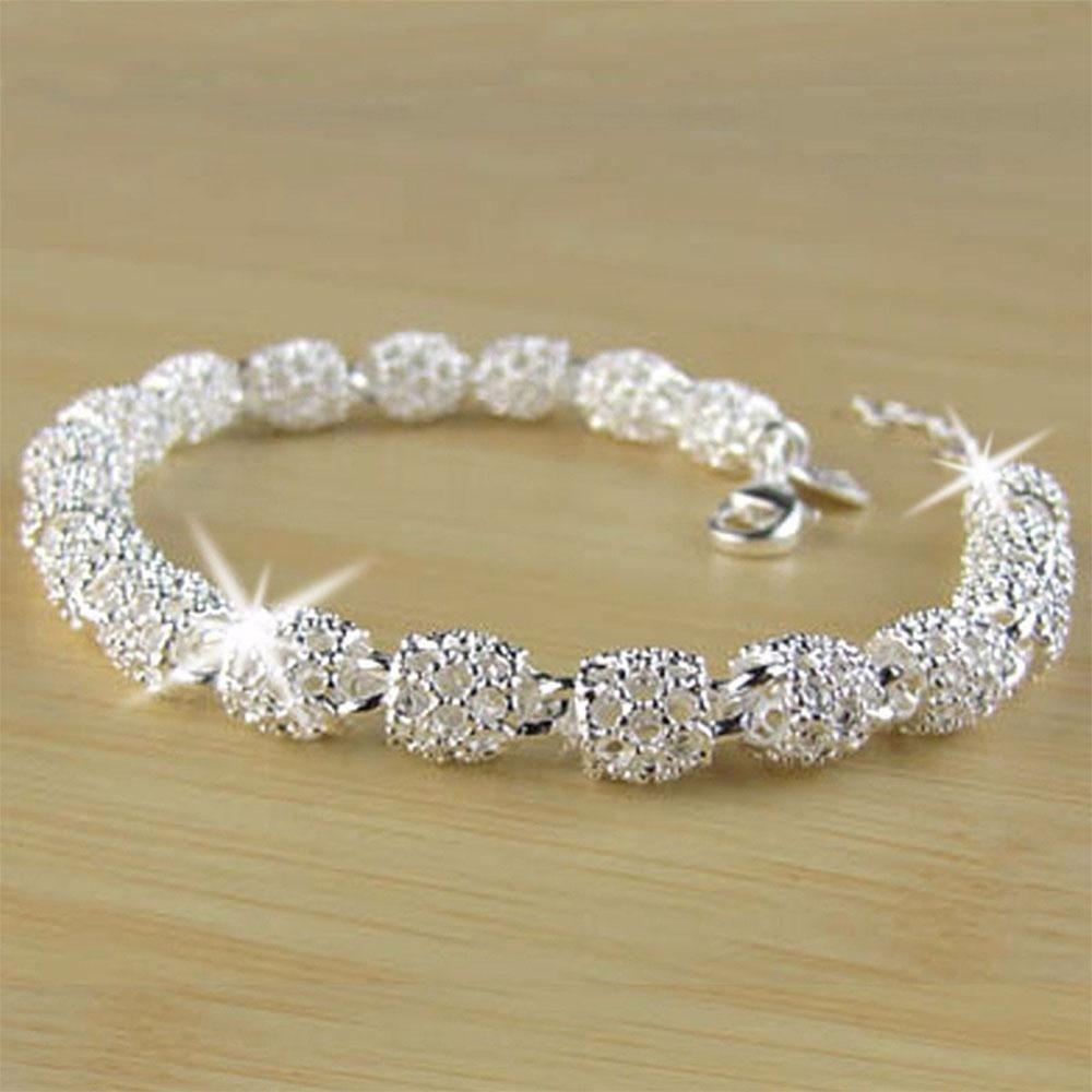 Красивый элегантный серебряный браслет-цепочка браслет для женщин женские модные ювелирные и… | Silver bracelets for women, Silver bead bracelet, Beautiful bracelet