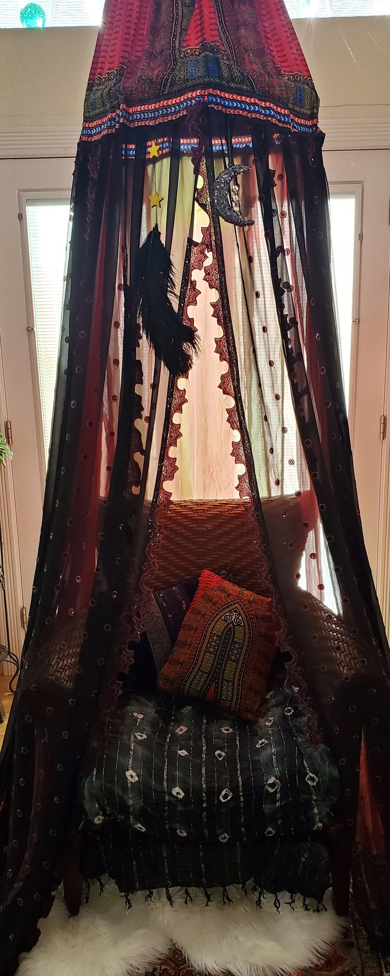 Bohemian, goth, bed canopy, canopy, meditation, fort, tent, voodoo lounge, secret place, gypsy tent, halloween, book nook, party decor