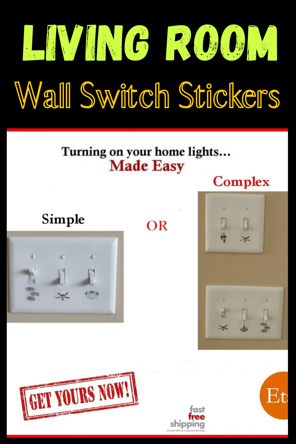 Living Room Wall Switch Stickers 200 Labels And Stickers Etsy Light Switch Decal Living Room Wall Switch