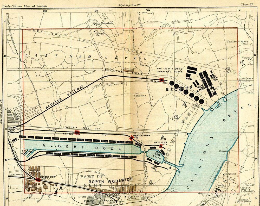 1891 London Street Map Woolwich Albert Dock Beckton Gallions Reach Silvertown Street Map London Street London Docklands