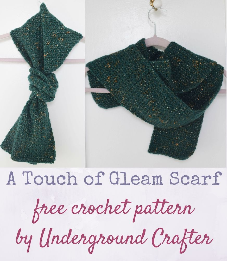 A Touch of Gleam Scarf, free crochet pattern in Red Heart Gleam yarn ...