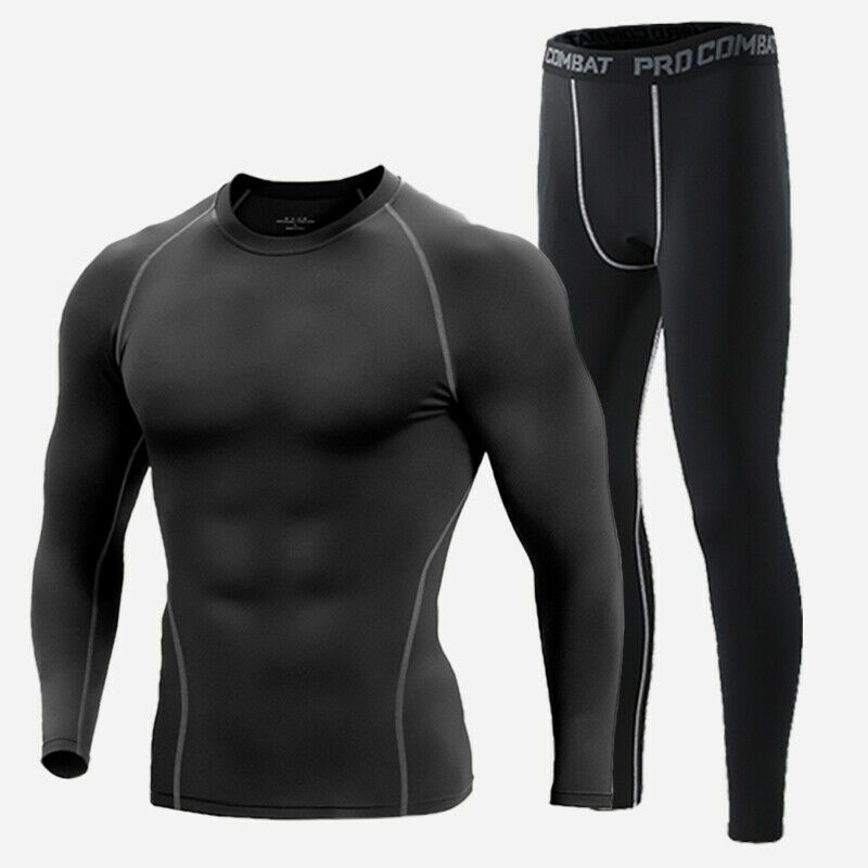 Men Compression Base Layer Thermal Tights Shirt Top Long Sleeve Gym Activewear
