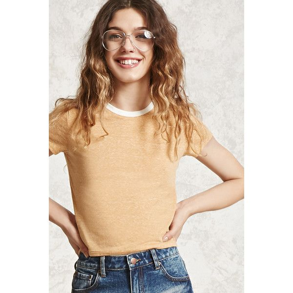 1017c35f29f24f Forever21 Burnout Cropped Tee ( 7.90) ❤ liked on Polyvore featuring tops