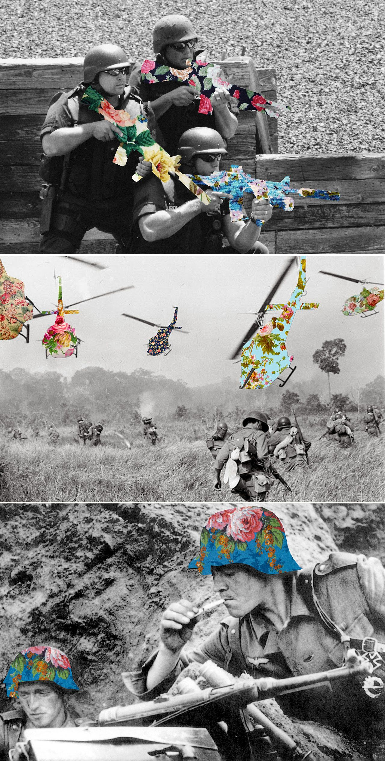 juxtaposed flowers - peace  natural vs war