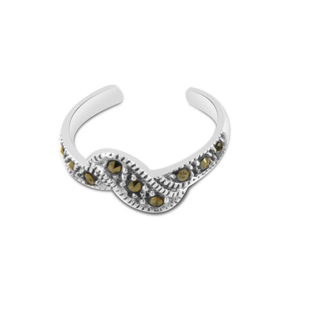 925 Sterling Silver Adjustable Bypass Toe Ring in Emerald