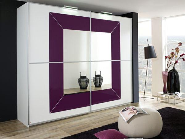 Schlafzimmerschrank Weiß ~ Billig kleiderschrank weiß lila mit spiegel deutsche deko