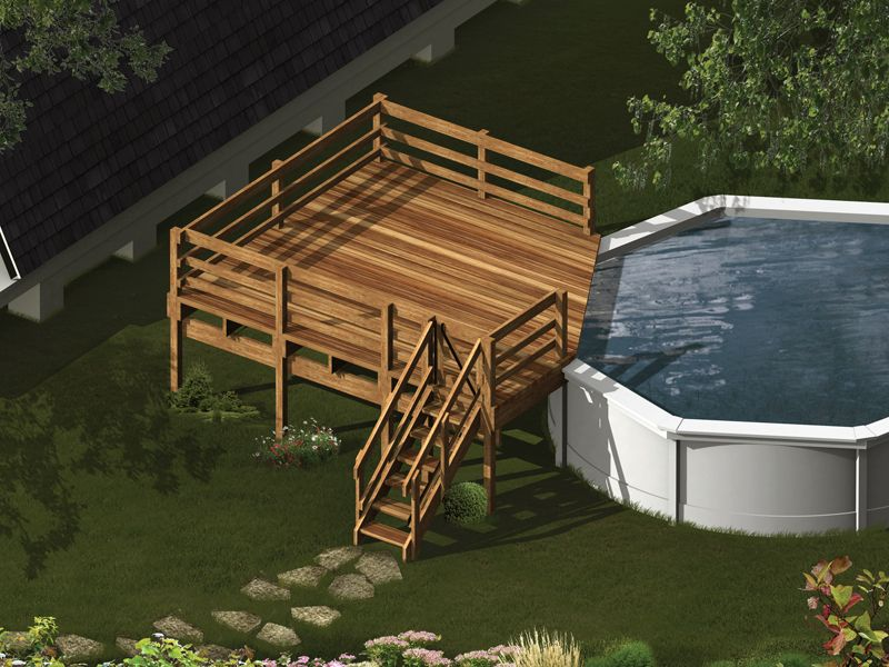 Cedar above-ground pool deck with privacy screens and staircase ...