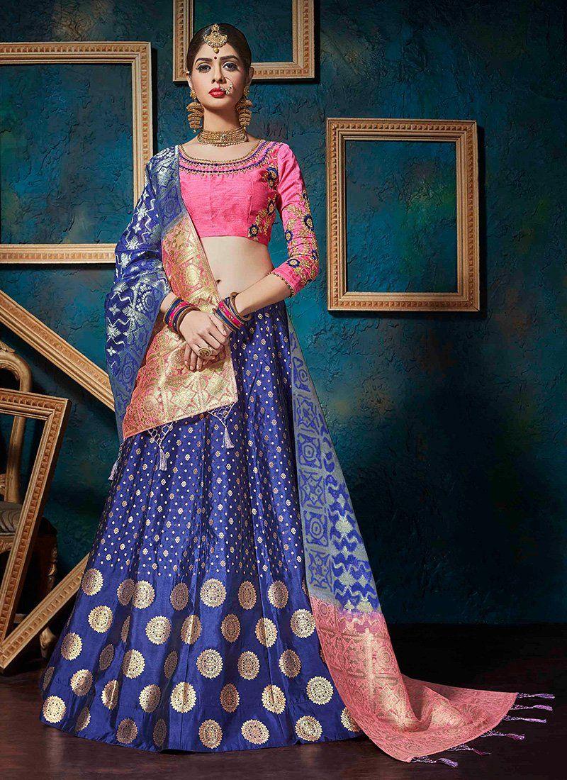 Light pink and blue banarsi silk jacquard lehenga silk lights and