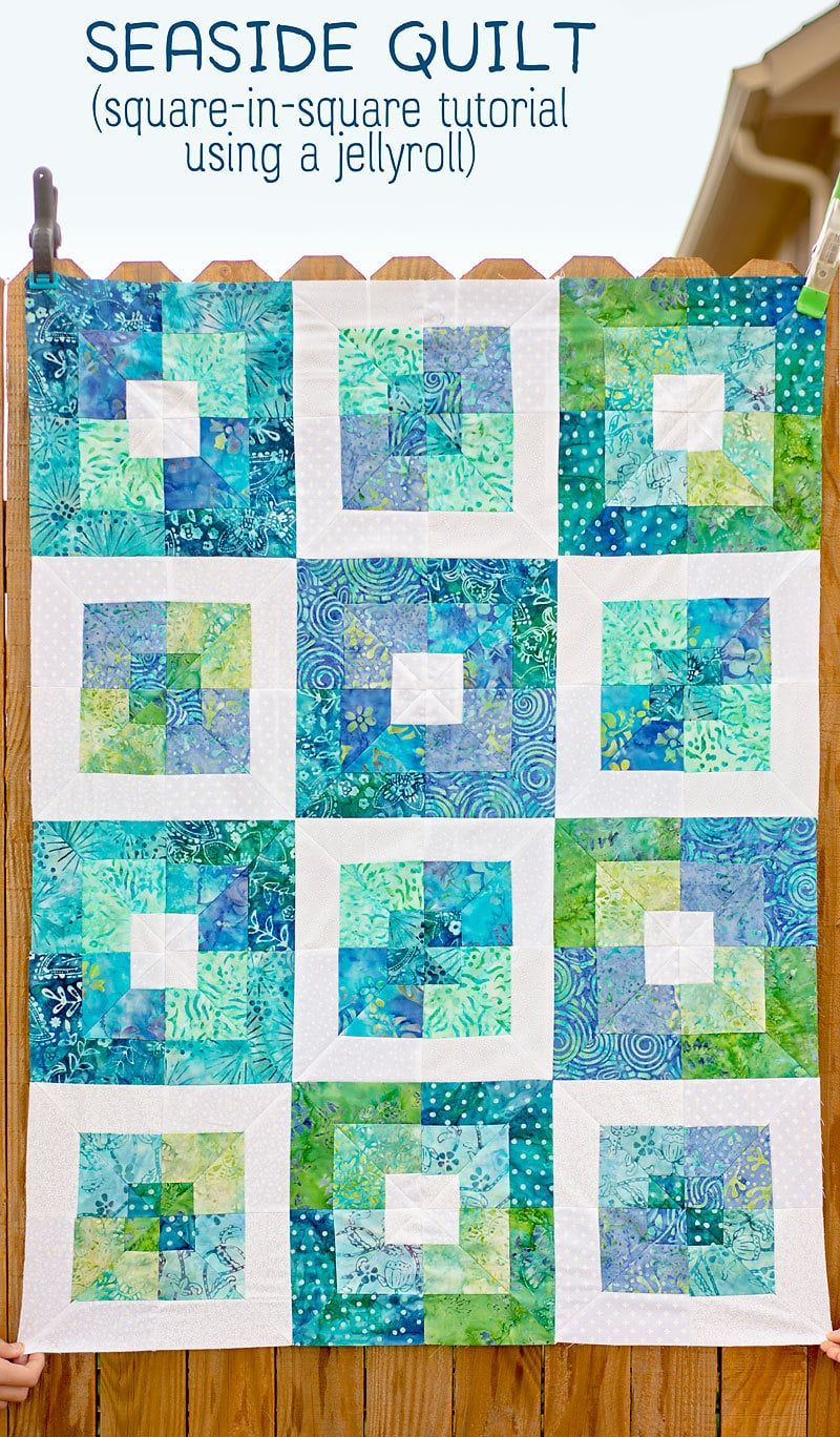 Learn how to make an easy square in square quilt block from a jelly roll! #jellyrollquilts