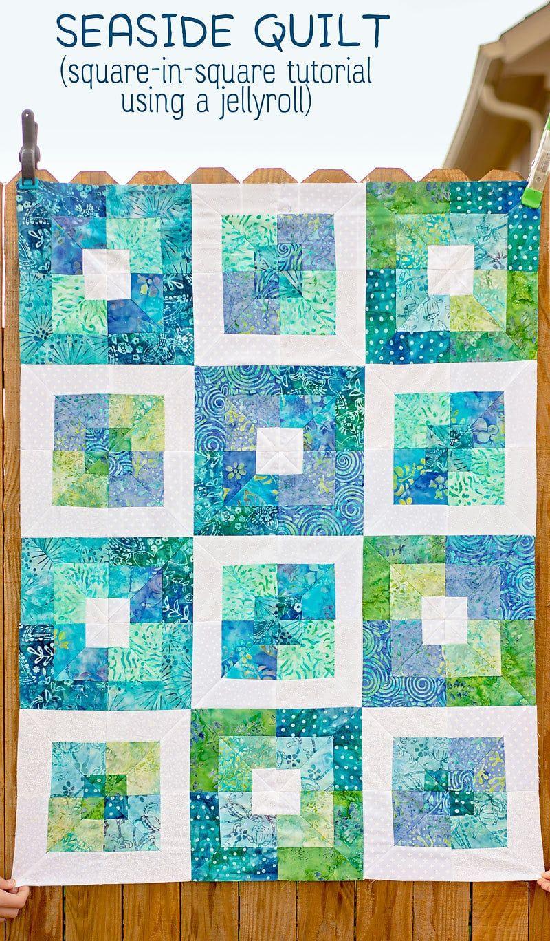 Seaside Squares Lap Quilt (easy square in square quilt block tutorial)