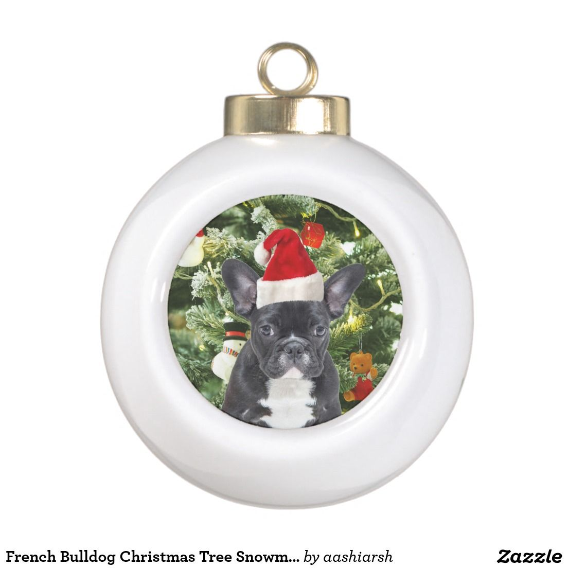 frenchbulldog christmas tree snowman ceramic ball christmas ornament frenchie
