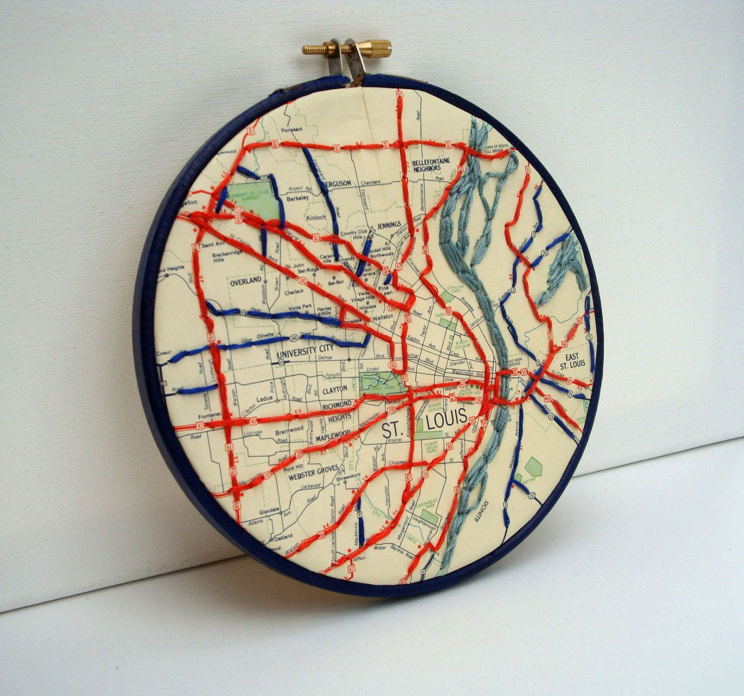 Map Embroidered St Louis 15th Washington Ave Wall Pinterest
