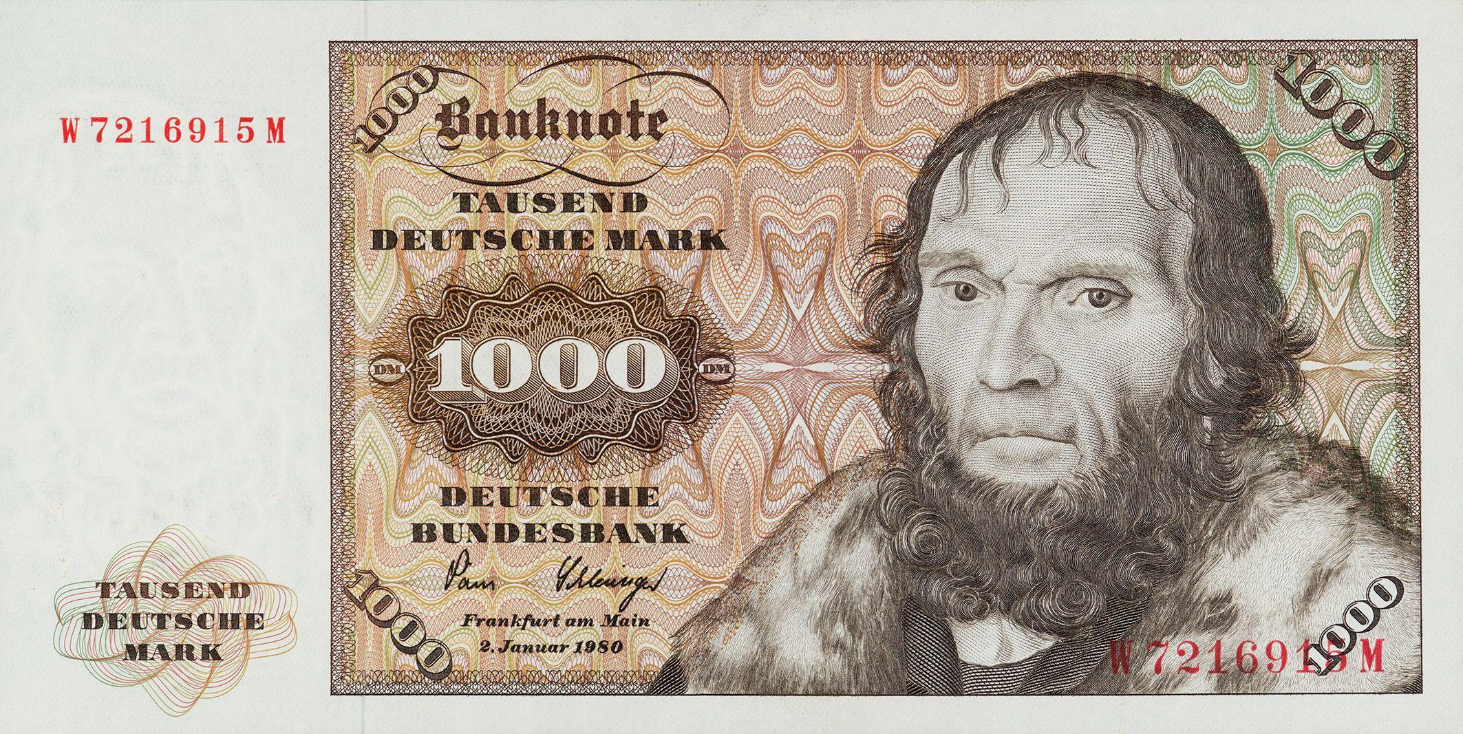 1000 DM Deutsche mark, Altes geld, Kindheitserinnerungen