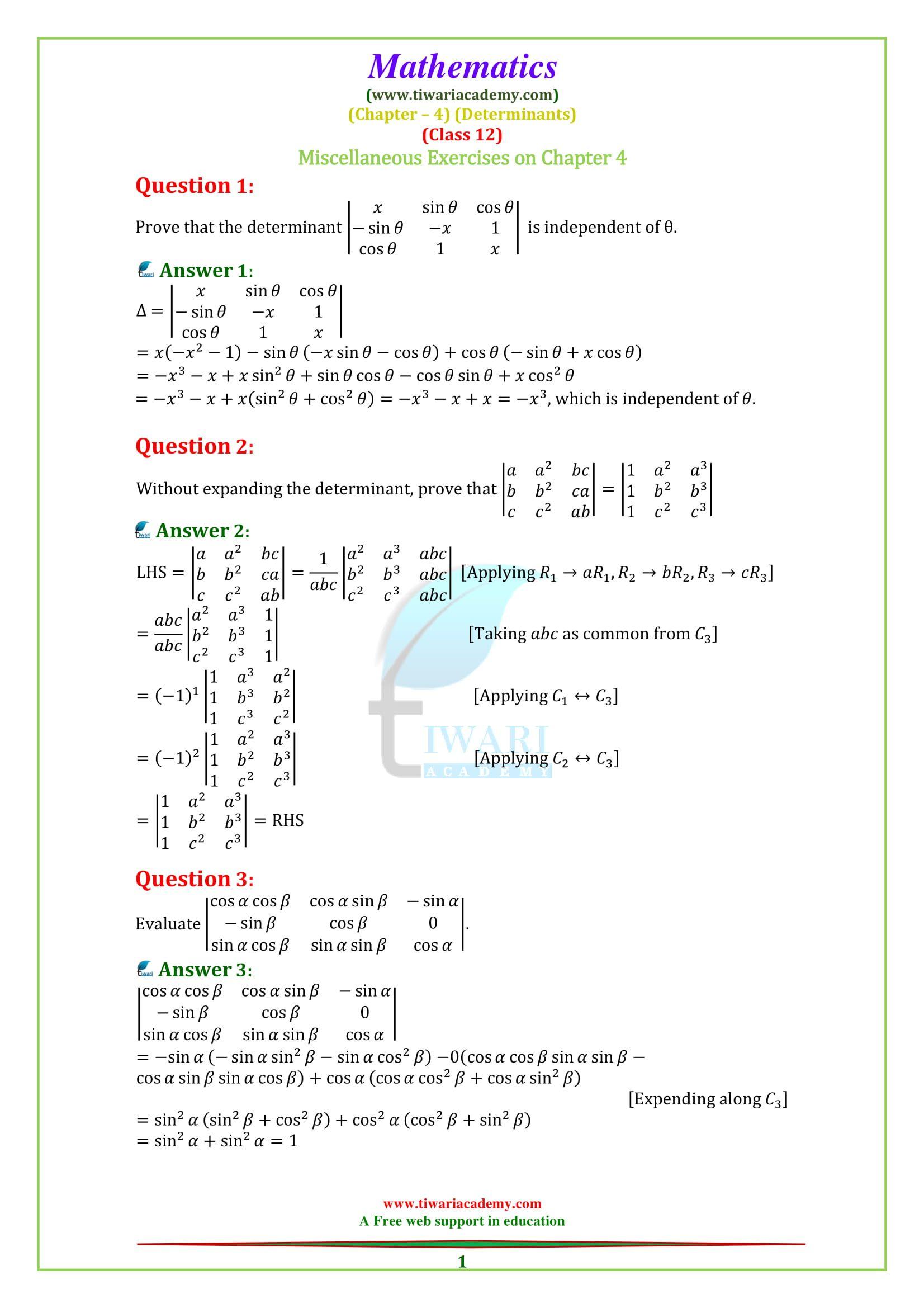 12 Maths Solutions Determinants Class 12 Maths Studying Math 12th Maths [ 2339 x 1653 Pixel ]