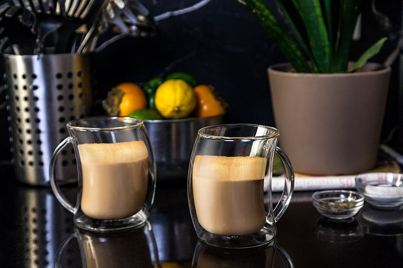 Caleo insulated latte glasses joy jolt glassware